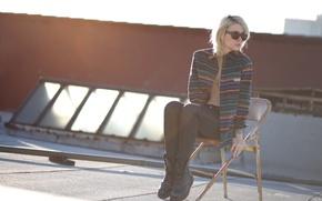 Picture girl, woman, stripes, model, chair, tattoo, blonde, female, Alysha Nett, roof, sun glasses, flannel