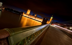 Picture bridge, river, England, the evening, big Ben