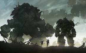 Picture fiction, figure, robot, destruction, Golem, mech, golem, giants