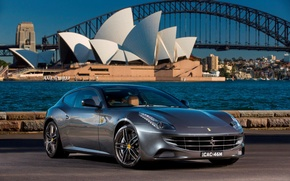Picture asphalt, bridge, river, grey, coupe, ferrari, Ferrari