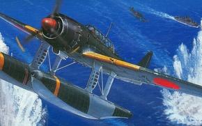 Picture attack, ship, plaque, scout, dive bomber, Zuiun, Aichi, E16A, Auspicious cloud, Oceania, hydroplane
