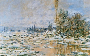 Wallpaper Claude Monet, picture, landscape, The opening of the ice. Lavancher. Cloudy Weather