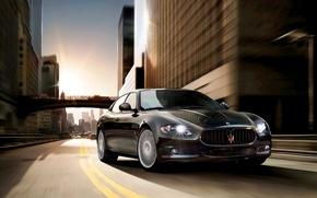 Picture Maserati, Quattroporte, Road, Black, The city, Logo, Car, Exotic