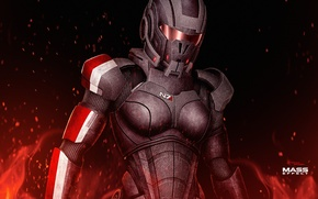 Picture fire, mass effect, shepard, armour, female