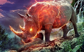 Picture the sky, grass, trees, clouds, stones, fire, waterfall, Rhino, aggression