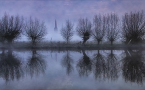Picture sunrise, Thames, reflection, Gloucestershire, Lechlade, St. Lawrence Church, river thames
