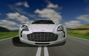 Picture car, aston martin, road, speed