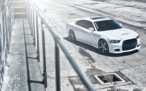 Picture roof, white, shadow, balcony, white, Dodge, dodge, the view from the top, charger, srt8, Luke, …