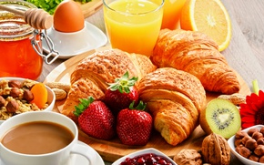 Picture Glass, Coffee, Strawberry, Still life, Breakfast, Juice, Croissant