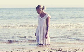 Picture sea, summer, girl, mood
