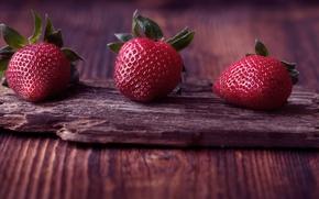 Wallpaper Three, Board, Macro, Beautiful background, berries, Red, Strawberry, Background