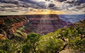 Picture sunset, mountains, rocks, canyon, AZ, USA, grand canyon national park