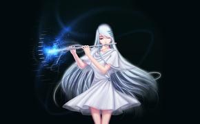Picture girl, magic, flute, white dress, art, clips, Darkmuleth