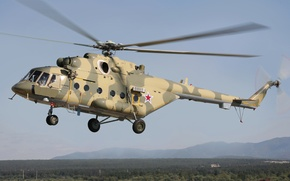 Picture The sky, Mountains, Trees, Forest, Flight, Helicopter, Multipurpose, Mi-8, (Mi-17), Landing