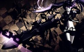 Picture girl, weapons, anime, art, chain, black rock shooter, insane black rock shooter, Mato KURO, insane …