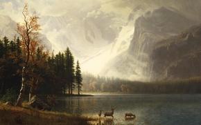 Picture animals, landscape, mountains, picture, Albert Bierstadt, Estes Park. Colorado. Lake White