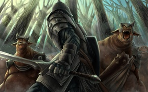 Wallpaper forest, sword, armor, warrior, art, monsters, m-black