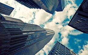Picture the sky, glass, clouds, city, the city, reflection, photo, background, Wallpaper, pictures, building, skyscrapers, view, …