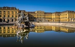 Picture water, reflection, Austria, fountain, sculpture, Palace, Austria, Vienna, Vienna, Schönbrunn Palace, Schonbrunn Palace