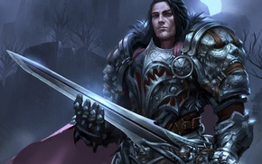 Picture night, sword, armor, warrior, art, male, castle. the moon