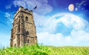 Wallpaper planet, grass, tower