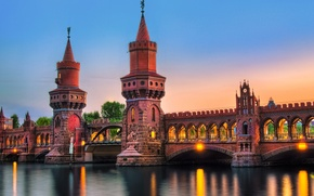 Picture bridge, the city, river, the evening, Germany, lighting, backlight, Germany, Berlin, Berlin, The upper tree ...