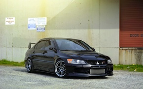 Picture Mitsubishi, Lancer, Evolution, Beautiful, Style, Lancer, JDM, Evolution, Mitsubishi, black. frontside