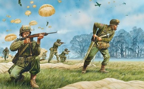 Picture grass, trees, weapons, figure, art, soldiers, USA, equipment, aircraft, troops, parachutes, airborne