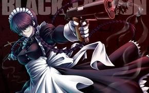 Picture Black Lagoon, girl, gun, pistol, game, dress, weapon, woman, anime, cross, pretty, fog, asian, Colt, …