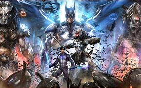 Picture batman, alien, predator, crossover, nightwing, xenomorph