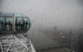 Wallpaper glass, attraction, london, London, moisture, people, city, the city, rain, london eye, booths, drops