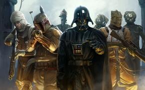 Picture Star Wars, Star wars, Darth Vader, Darth Vader, Boba Fett, Boba Fett