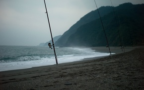 Picture sea, fishing, fishing rods