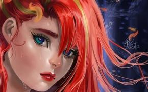 Picture look, drops, face, portrait, red, art, Sakimichan, renice