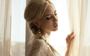 Picture girl, makeup, window, blonde, blind, earring, manicure
