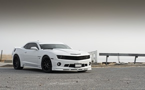 Wallpaper white, tuning, Chevrolet, Camaro, white, Chevrolet, muscle car, the front part, Camaro, Stillen