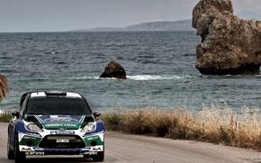 Picture Ford, Water, Sea, Road, Greece, Race, WRC, Rally, Fiesta, Jari-Matti Latvala