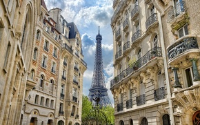 Wallpaper France, Paris, building, home, gate, Eiffel tower, Paris, architecture, France, Eiffel Tower, La tour Eiffel, ...