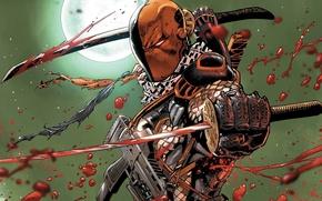 Picture Swords, DC Comics, Mercenary, Slade Wilson, Deathstroke, Deathstroke, Slade Wilson, Blood, Destroy