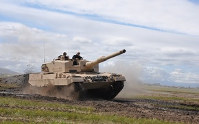 Picture road, army, tank, leopard 2