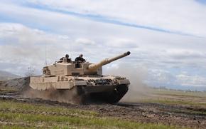 Wallpaper road, army, tank, leopard 2