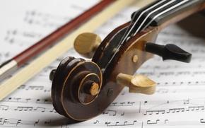 Picture wood, score, violin