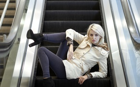 Picture look, girl, pose, escalator
