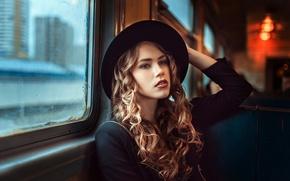 Picture girl, window, the car, hat, curls, George Chernyadev, Traveler