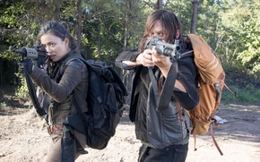 Wallpaper The Walking Dead, The walking dead, Norman Reedus, Daryl, Christian Serratos, Rosita