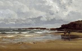 Wallpaper picture, rocks, Carlos de Haes, The beach at Karraspio, seascape, shore, people
