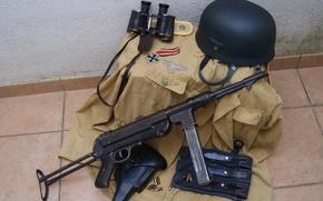 Wallpaper helmet, world, Second, the gun, times, MP 40, form, binoculars, war