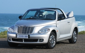 Picture road, Car, sea., Chrysler-PT-Cruiser-Cabrio-RHD