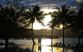 Picture palm trees, the ocean, the evening, two, Bora-Bora, sunset over pool