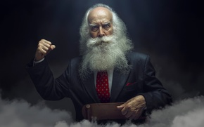 Picture costume, grandfather, beard, gesture, fist